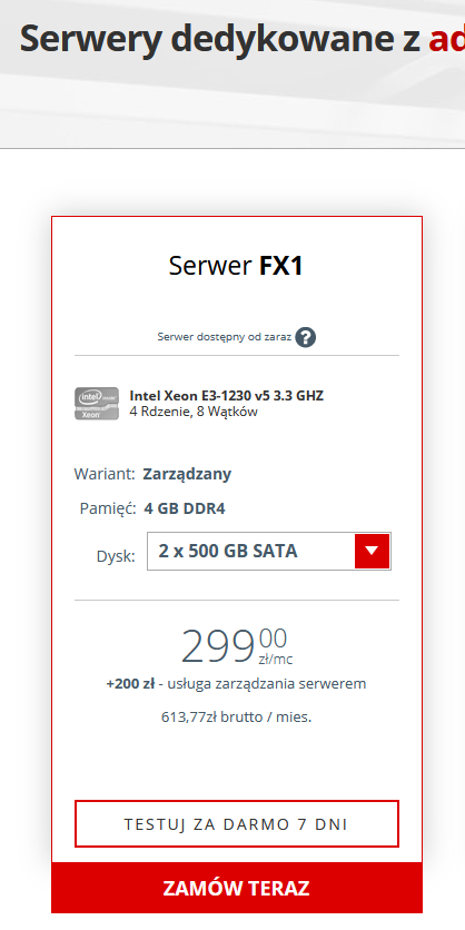 Manipulacja cenowa serwerów dedykowanych z usługą zarządzania