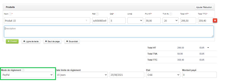 Créer factures client rapides