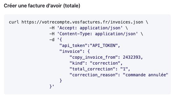 API Facturation Facture d'Avoir Note de Crédit