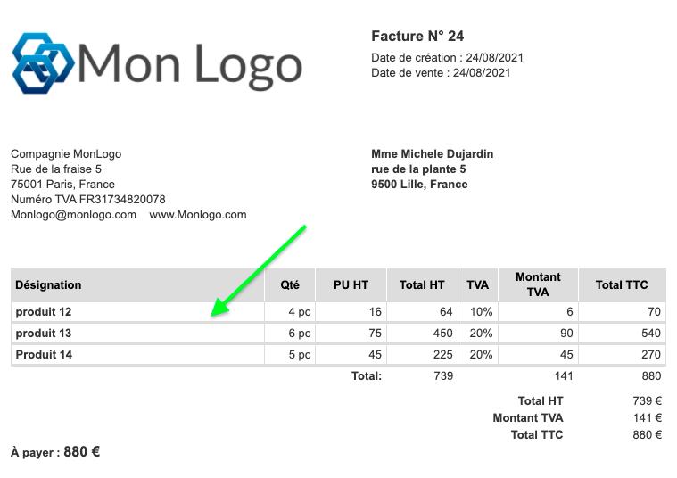 Exemple de Factures avec mise en page personnalisée