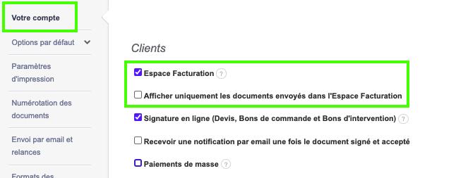 Activer Option Espace Facturation Client