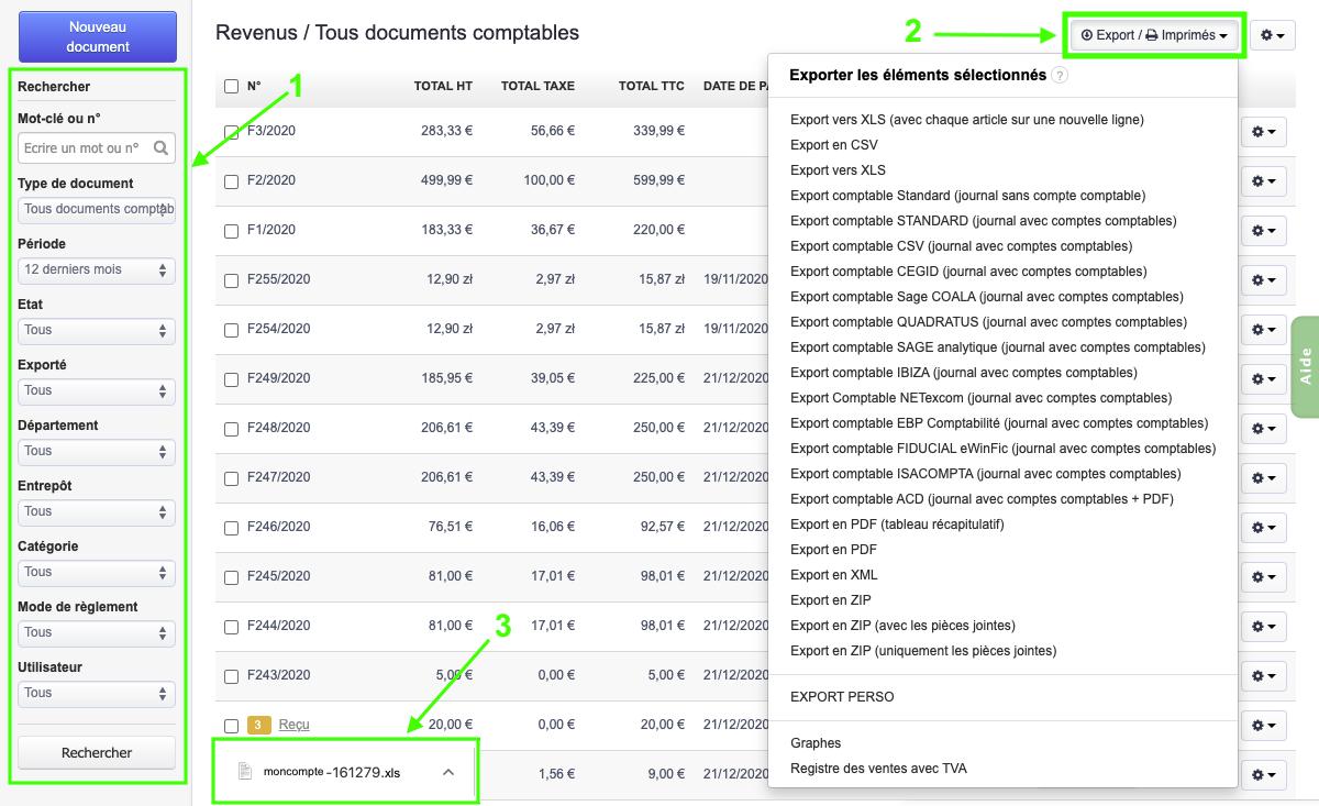 Télécharger Exporter Factures et Devis PDF Excel XLS Exports Comptables