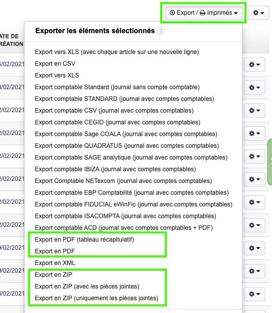 Factures Vente Factures Achat Export PDF ou ZIP