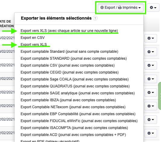 Factures Devis Dépenses Export Excel