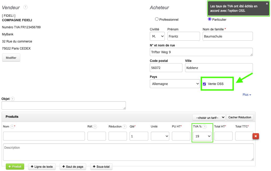 E-commerce Facturer en OSS TVA de l'acheteur TVA Intracommunautaire Logiciel de Facturation