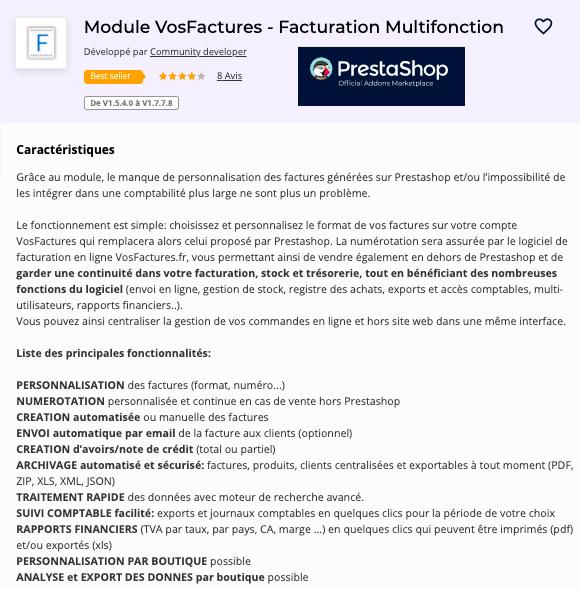 Module Facturation Prestashop