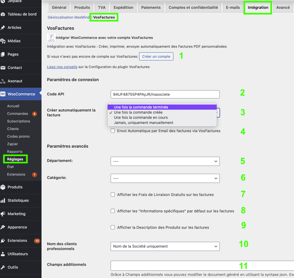 Configuration Extension WooCommerce Création Factures Facturation Antifraude